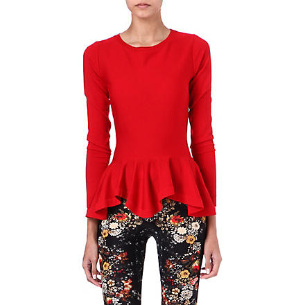 ALEXANDER MCQUEEN Peplum knitted top (Red