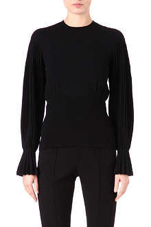 ALEXANDER MCQUEEN Pleated-sleeve knitted top
