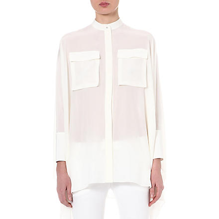 ALEXANDER MCQUEEN Cape silk shirt (White