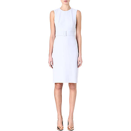 ALEXANDER MCQUEEN Belted crepe dress (Blue