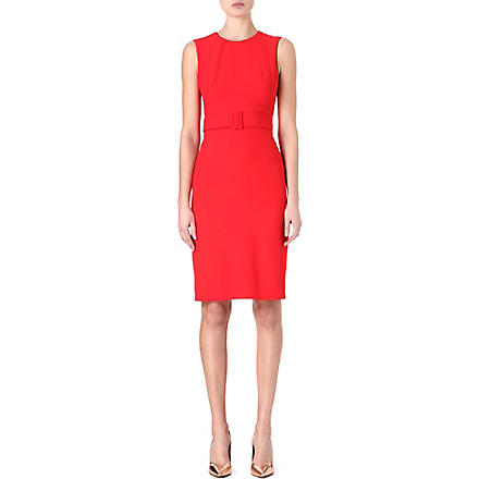 ALEXANDER MCQUEEN Belted crepe dress (Red