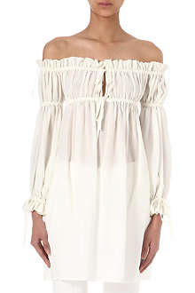 ALEXANDER MCQUEEN Off-the-shoulder silk-crepe top
