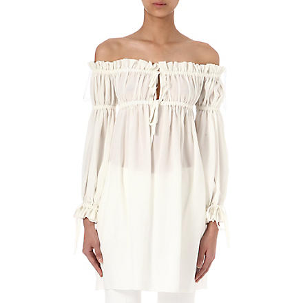 ALEXANDER MCQUEEN Off-the-shoulder silk-crepe top (White