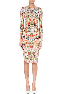 ALEXANDER MCQUEEN Cut-out sleeve floral-print dress