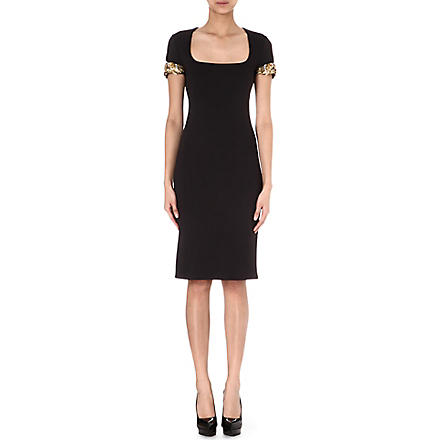 ALEXANDER MCQUEEN Scuba embellished-arms dress (Black