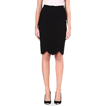 ALEXANDER MCQUEEN Scalloped knitted skirt (Black