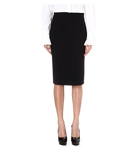 ALEXANDER MCQUEEN Silk-blend pencil skirt (Black
