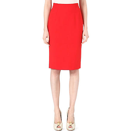 ALEXANDER MCQUEEN Silk-blend pencil skirt (Red