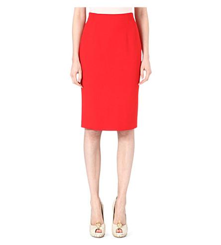 ALEXANDER MCQUEEN Silk-blend pencil skirt (Red