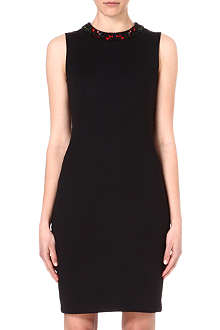 ALEXANDER MCQUEEN Embroidered-neckline neoprene dress