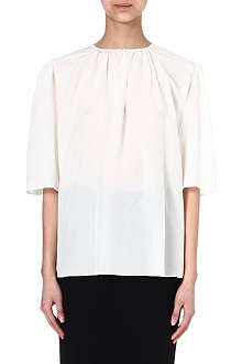 ALEXANDER MCQUEEN Gathered silk blouse