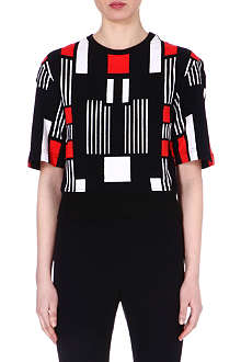 ALEXANDER MCQUEEN Printed stretch-cotton top