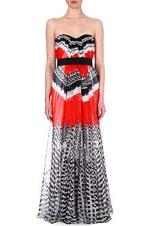 ALEXANDER MCQUEEN Feather-print chiffon gown