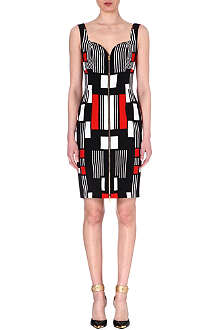 ALEXANDER MCQUEEN Geometric-print sleeveless dress