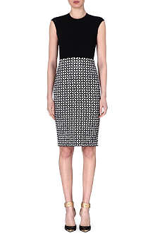 ALEXANDER MCQUEEN Monochrome print stretch-knit dress
