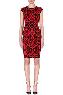ALEXANDER MCQUEEN Monochrome print dress