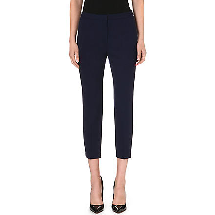 ALEXANDER MCQUEEN Cropped slim-fit wool trousers (Navy