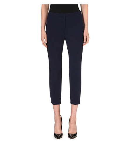 ALEXANDER MCQUEEN Cropped slim-fit wool trousers (Navy