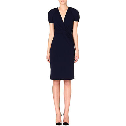 ALEXANDER MCQUEEN Ruched jersey dress (Navy