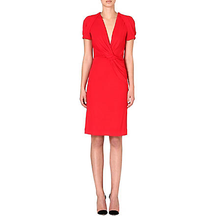 ALEXANDER MCQUEEN Ruched jersey dress (Red