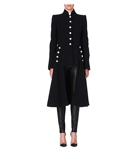 ALEXANDER MCQUEEN Long military wool coat (Black
