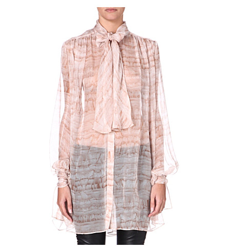 ALEXANDER MCQUEEN Printed silk blouse (Pink