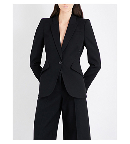 ALEXANDER MCQUEEN Padded peak-shoulder wool blazer (Black