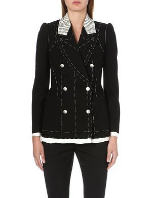 ALEXANDER MCQUEEN Contrast-stitch wool jacket