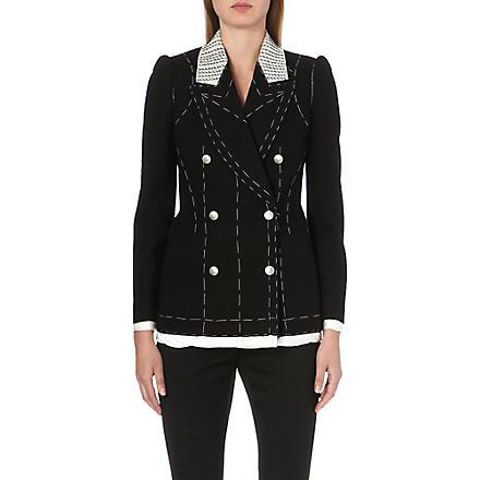 ALEXANDER MCQUEEN Contrast-stitch wool jacket (Black