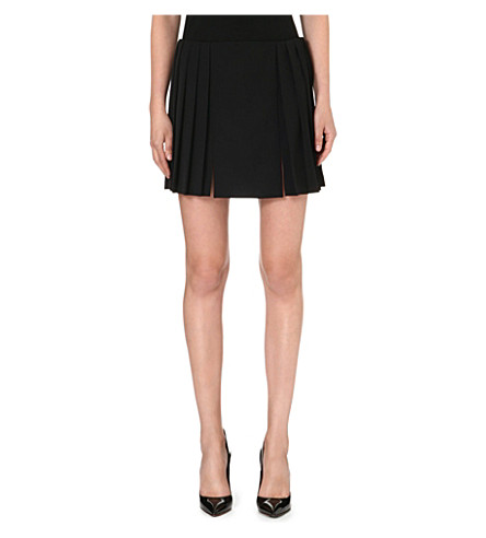 ALEXANDER MCQUEEN Pleated wool skirt (Black