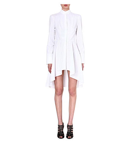 ALEXANDER MCQUEEN Cotton fishtail shirtdress (White
