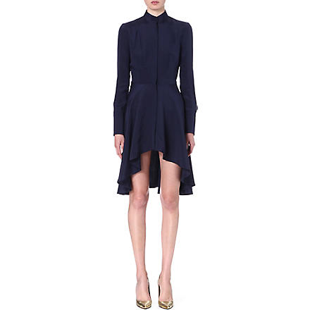 ALEXANDER MCQUEEN Dropped hem silk dress (Navy