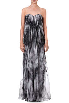 ALEXANDER MCQUEEN Silk-chiffon bustier gown