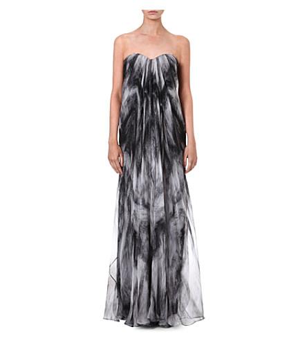 ALEXANDER MCQUEEN Silk-chiffon bustier gown (Grey