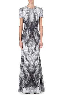 ALEXANDER MCQUEEN Fox-print satin gown