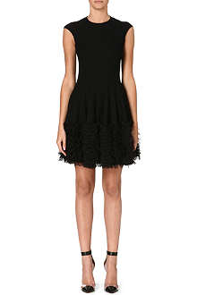 ALEXANDER MCQUEEN Ruffled-hem stretch-crepe dress