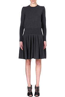 ALEXANDER MCQUEEN Drop-waist wool-blend dress
