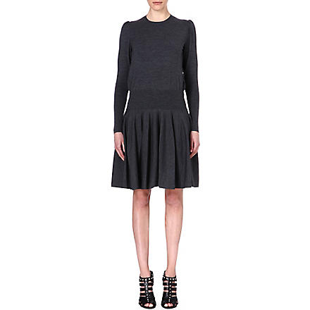 ALEXANDER MCQUEEN Drop-waist wool-blend dress (Grey