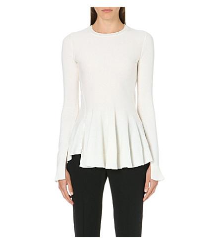 ALEXANDER MCQUEEN Peplum side-slit jumper (White