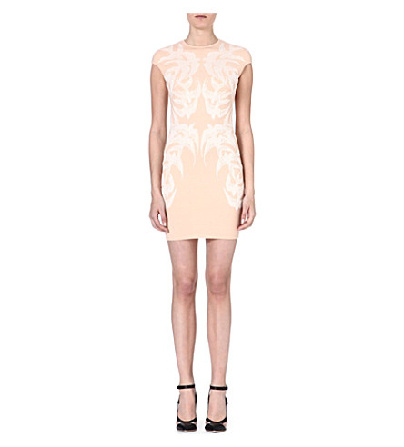 ALEXANDER MCQUEEN Swallow-print dress (Pink