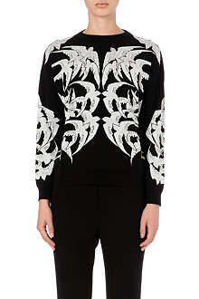 ALEXANDER MCQUEEN Swallow-embroidered knitted jumper
