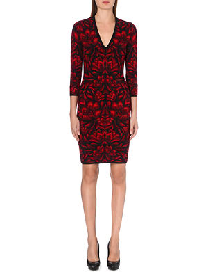 ALEXANDER MCQUEEN Jacquard-knit fitted dress