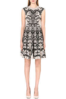 ALEXANDER MCQUEEN Pleated-skirt jacquard-knit dress