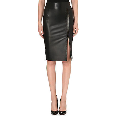 ALEXANDER MCQUEEN Studded leather pencil skirt (Black