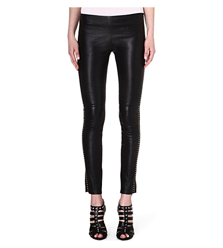 ALEXANDER MCQUEEN Slim leather leggings (Black