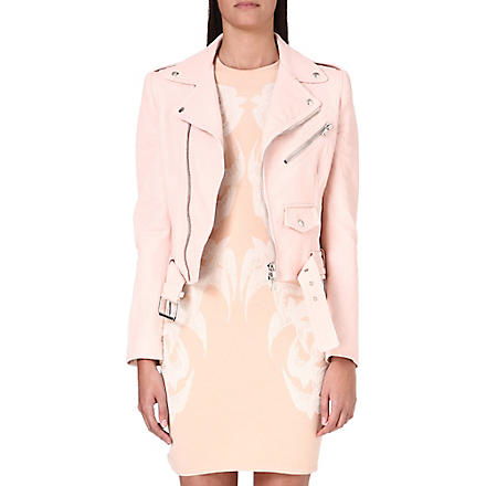 ALEXANDER MCQUEEN Leather biker jacket (Pink