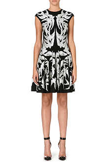 ALEXANDER MCQUEEN Swallows jacquard-knit dress