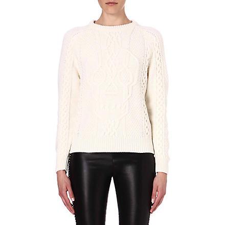 ALEXANDER MCQUEEN Skull-motif wool and cashmere-blend jumper (White