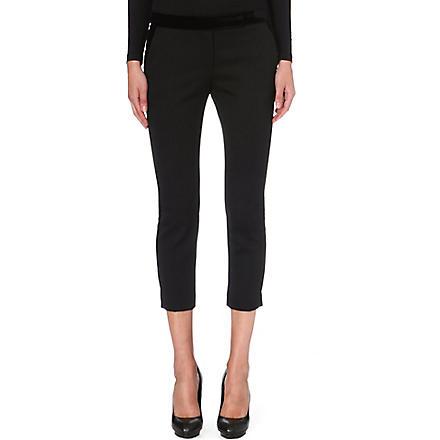 ALEXANDER MCQUEEN Velvet-detail cropped trousers (Black