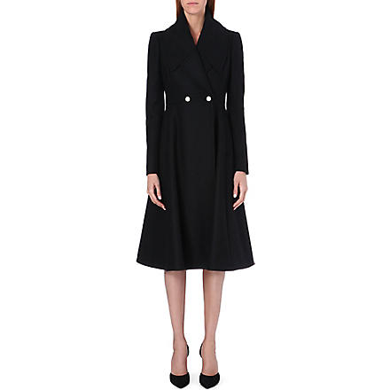 ALEXANDER MCQUEEN Long flared wool coat (Black